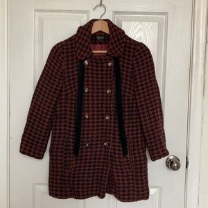 Burgundy houndstooth coat from Topshop
